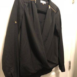 Calvin Klein Black Blouse Gold Zipper Petite PXS